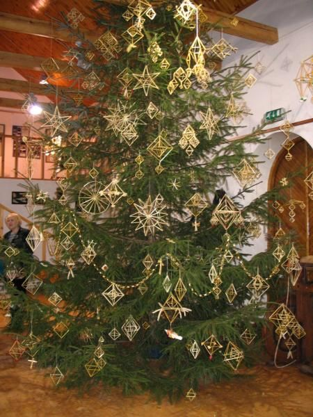 Christmas Tree Decorated With Latvian Tradtional Straw