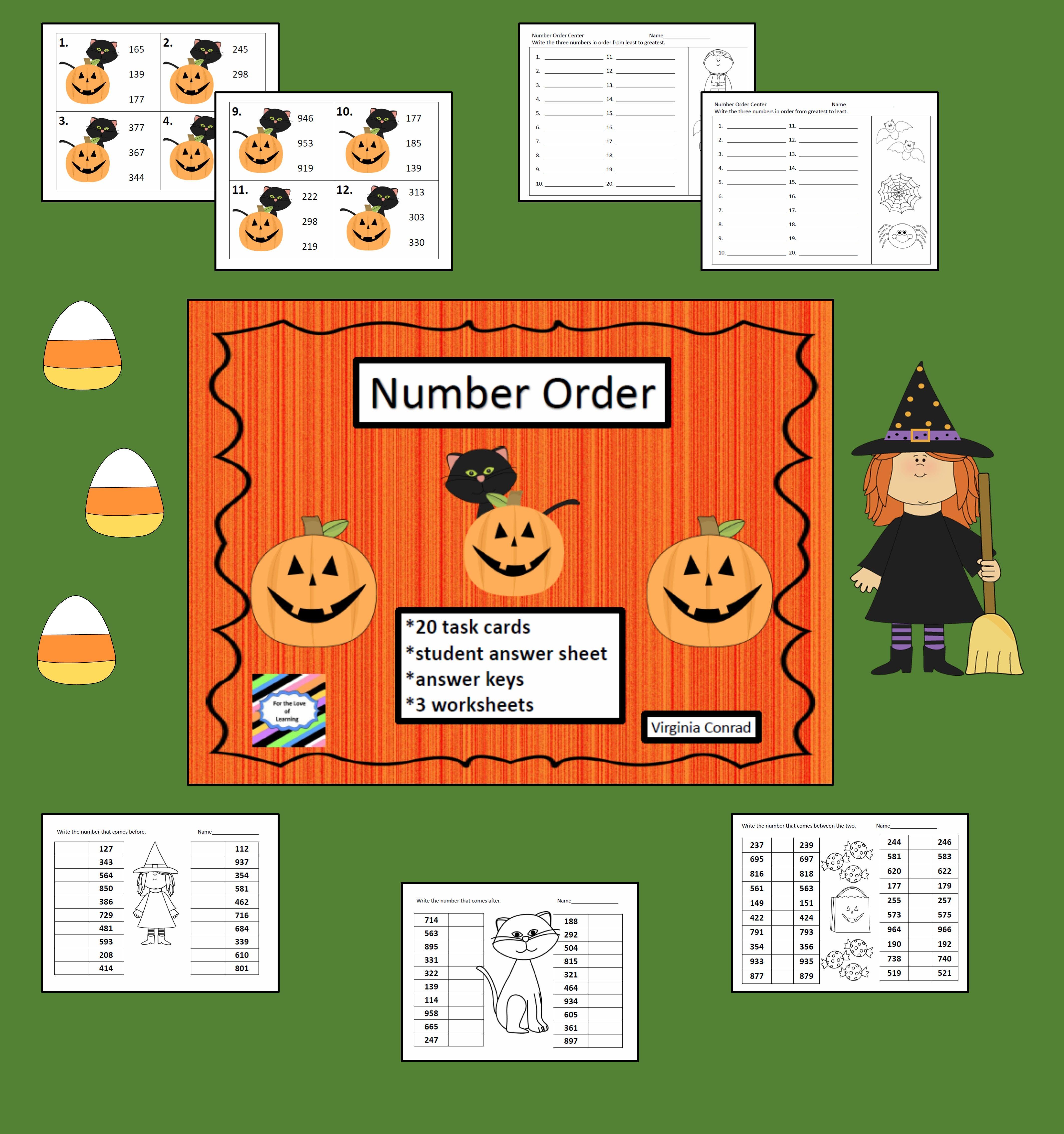 Number Order Center Halloween Theme