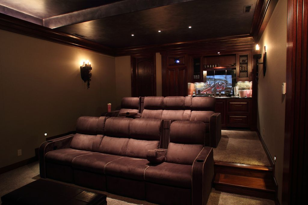 Everyone Needs A Home Theater Room With Comfy Couches And A Bar I