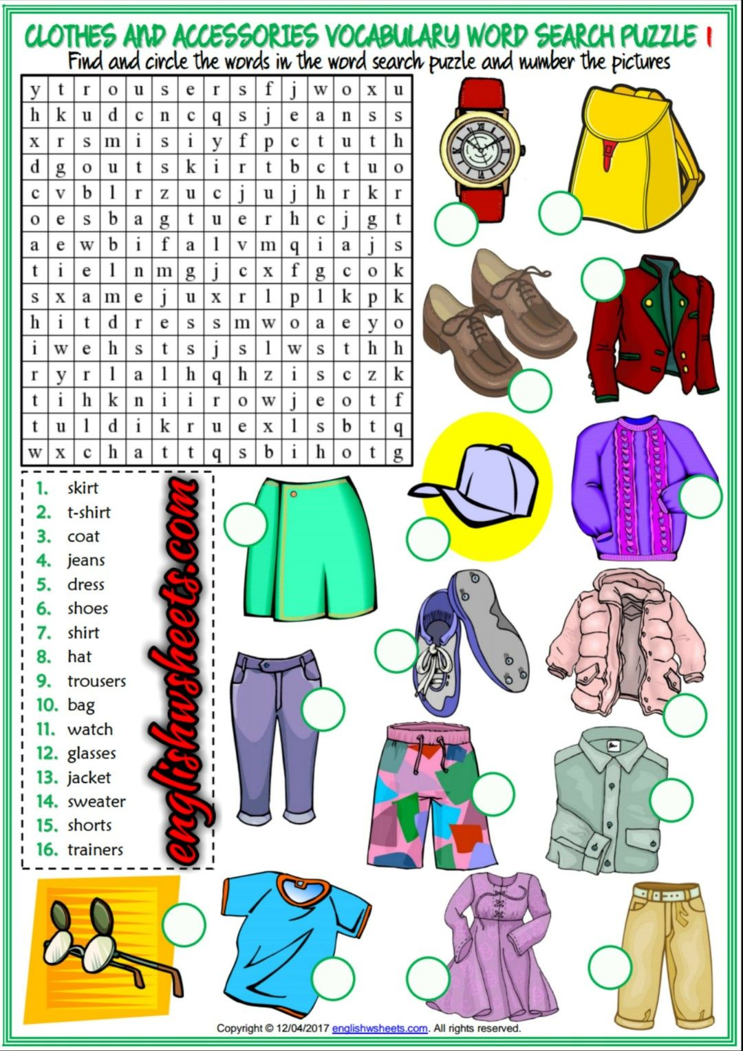 Clothes And Accessories Esl Printable Word Search Puzzle