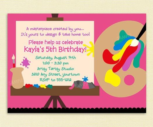 Paint Party Invitation For Arts And Crafts Or Painting Birthday Printable File