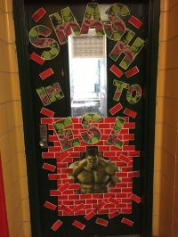 Fun Superhero classroom door decoration. | Hulk Smash ...