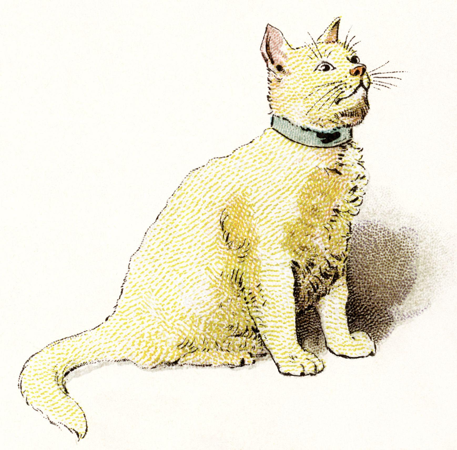 Free Vintage Printable Art Yellow Cat Clipart Vintage
