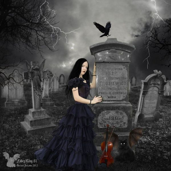 Gothic Dark Woman Of Graveyard Violinist 5