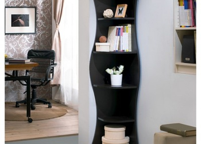 Homes inside out ronni contemporary shelf corner bookcase walnut also