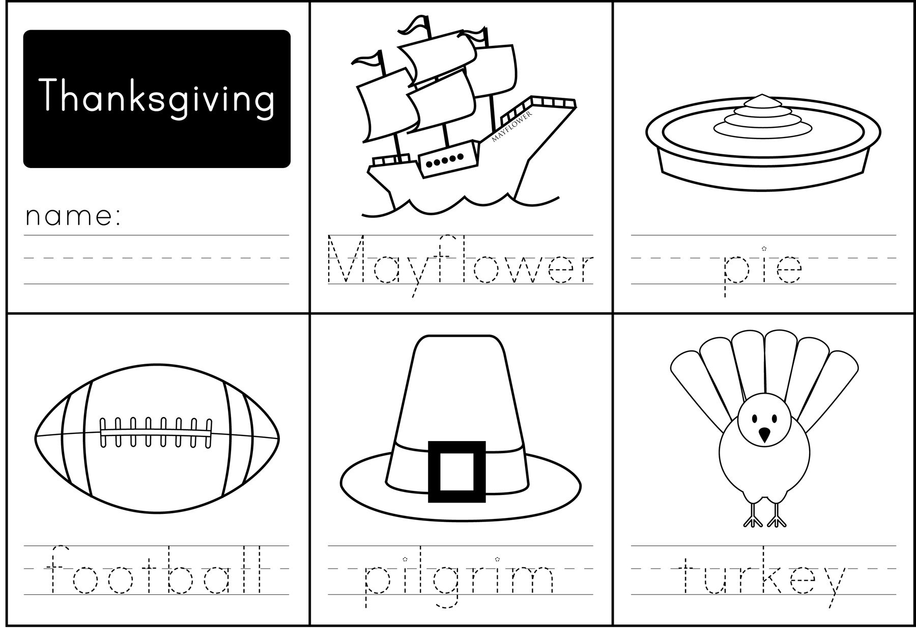 Thanksgiving Words All New Worksheet For Your Little Ones To Practice Writing Simple
