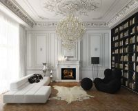 Villa by Nikita Borisenko, black bookshelf wall, ornate