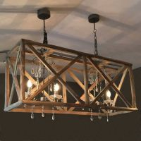 Large Wooden Chandelier With Metal And Crystal