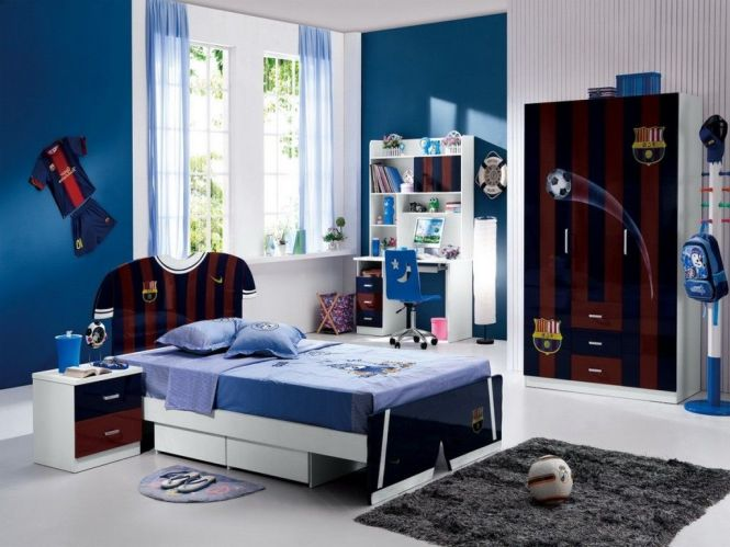 Kids Room Boys Bedroom For Fc Barcelona Fans With Single Sized Bed Also Blue Wall