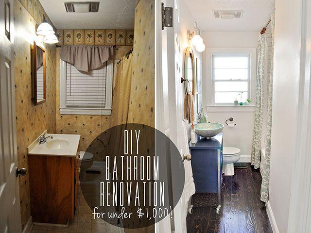 before & after DIY bathroom renovation under $1,000