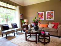 Apartments:Splendid Earth Tone Living Room Green Wall