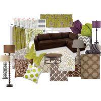 Warm Living Room Ideas- color scheme brown, green, gray ...