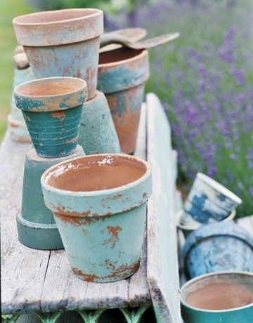 Reduce Reuse Renewed Painting Terra Cotta Pots With Acrylics