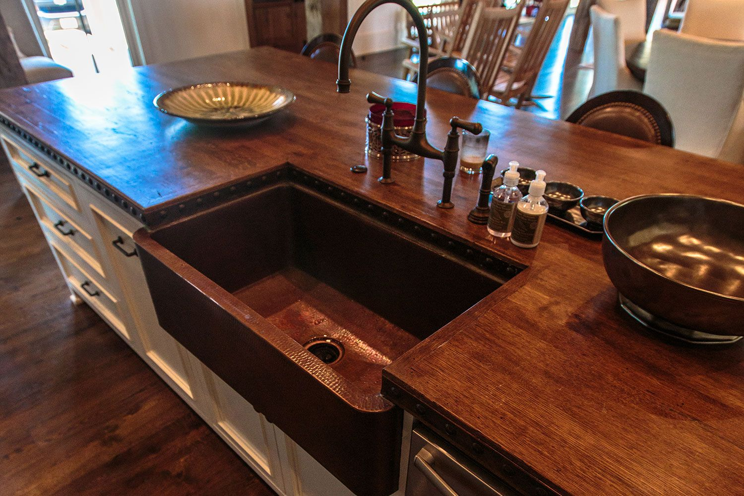 copper kitchen countertops stainless steel trash can custom reclaimed wood countertop island with