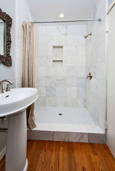 walk in shower with curtain instead of door