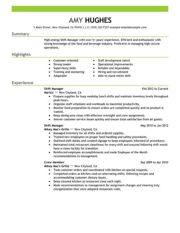 Restaurant Manager Resume Examples