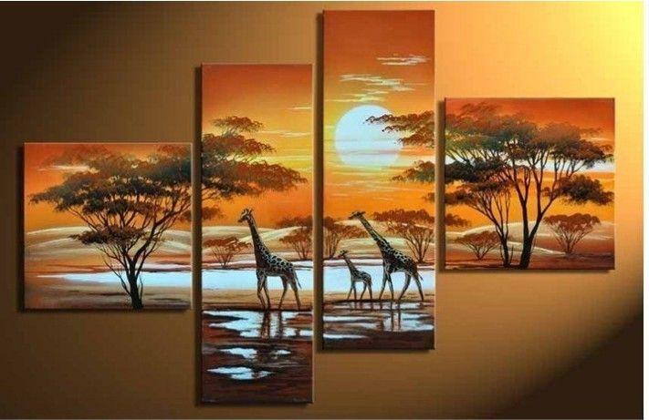Hand Painted Wall Art The Giraffe Sun Home Decoration Modern