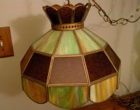 Vintage Tiffany Style STAINED GLASS HANGING LIGHT Swag ...