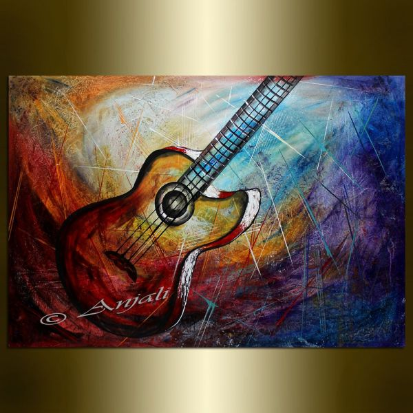 Abstract Guitar Art Painting