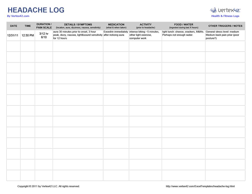 Free Printable Headache Log From Vertex42