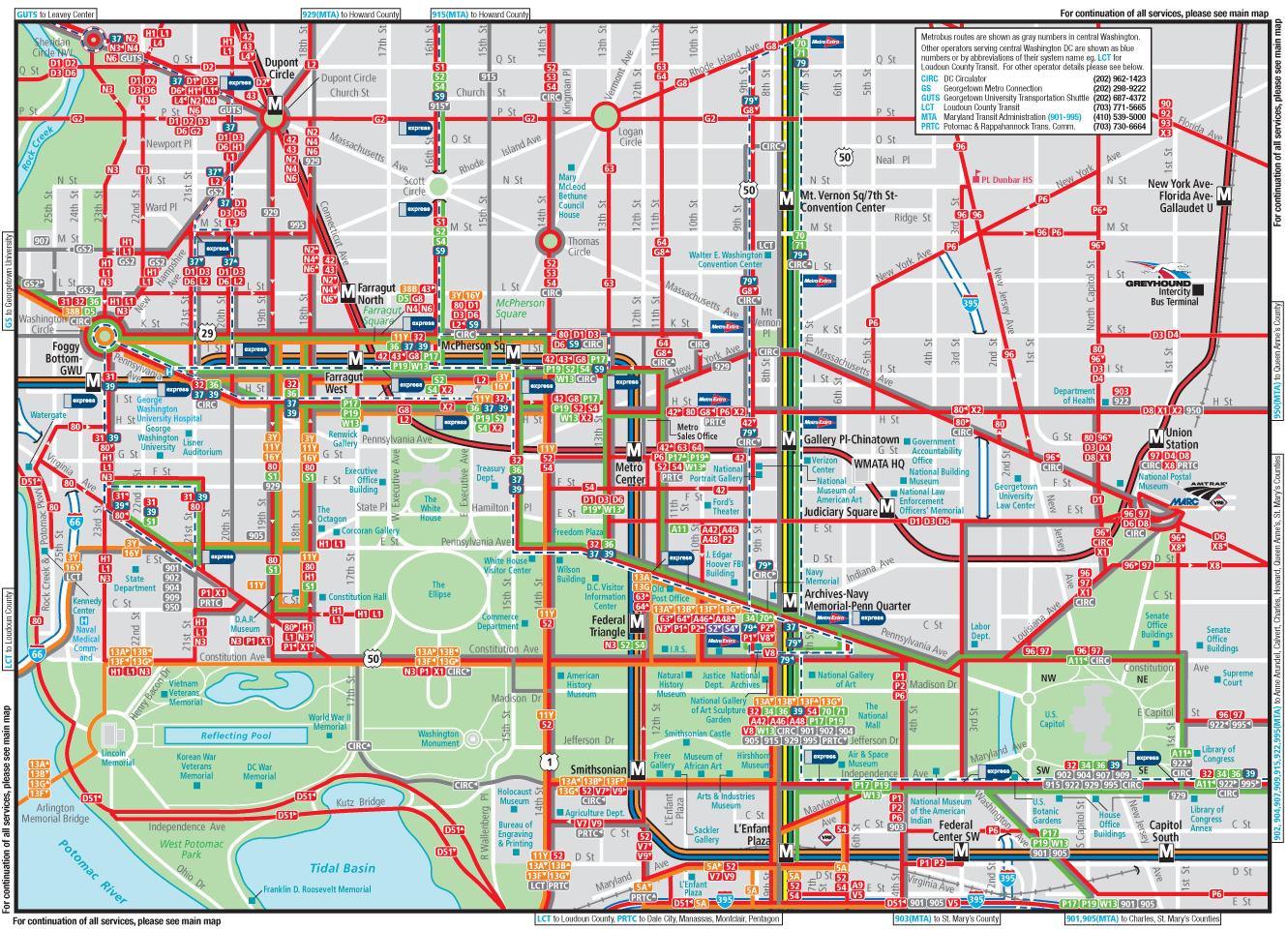 Washington Dc Downtown Metrobus Map City Center