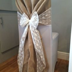 Chair Covers And Sashes To Hire Swivel Jumia Cover With Hessian Hood White Lace Sash In