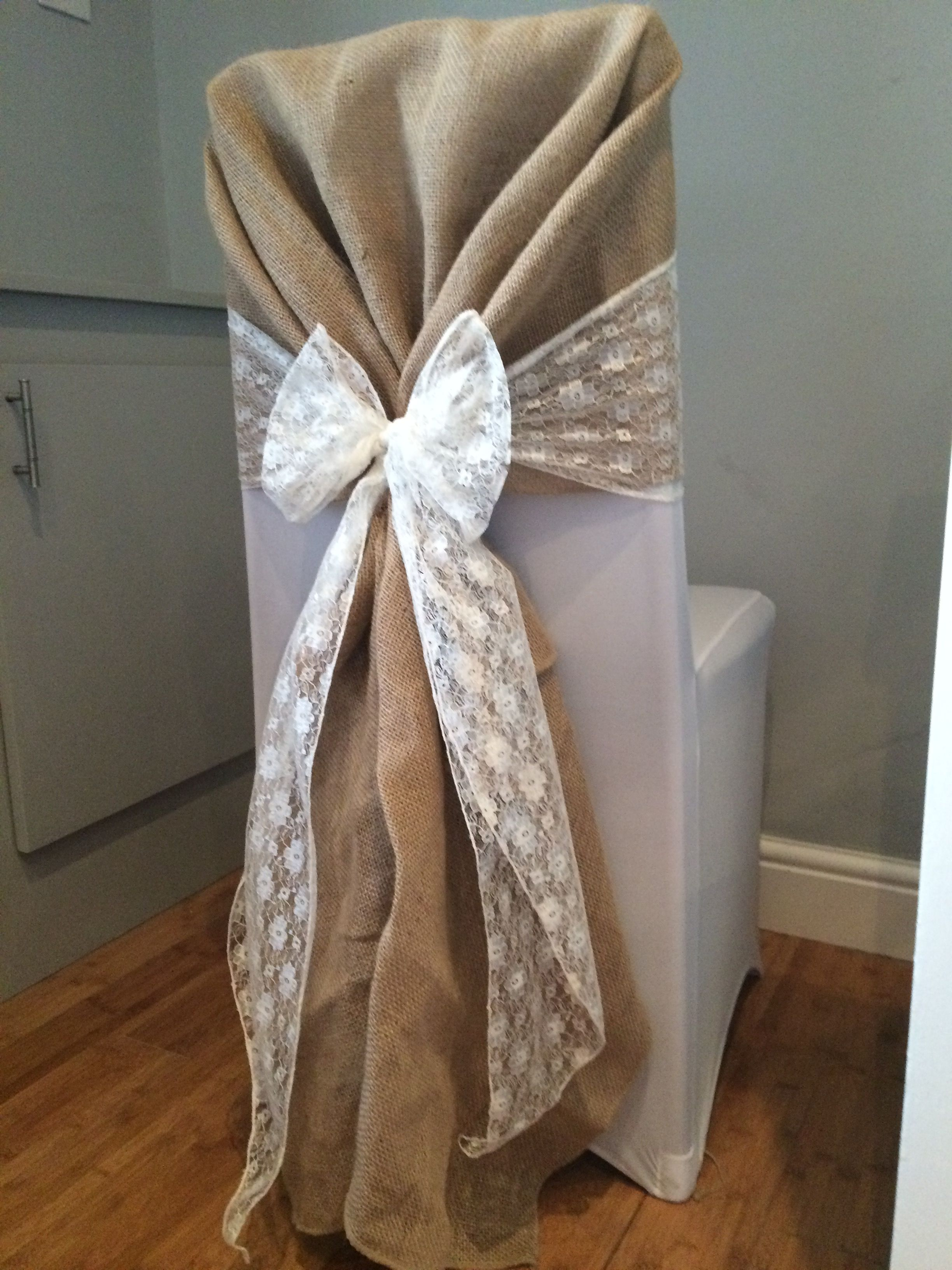 wedding chair covers pinterest thomas the train table and chairs cover with hessian hood white lace sash hire in