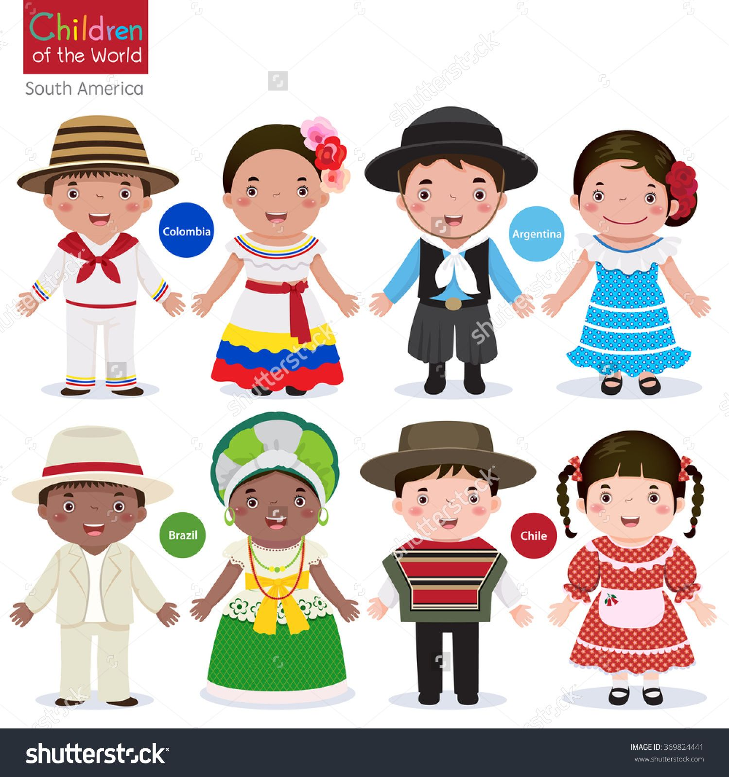 Kids In Different Traditional Costumes Colombia