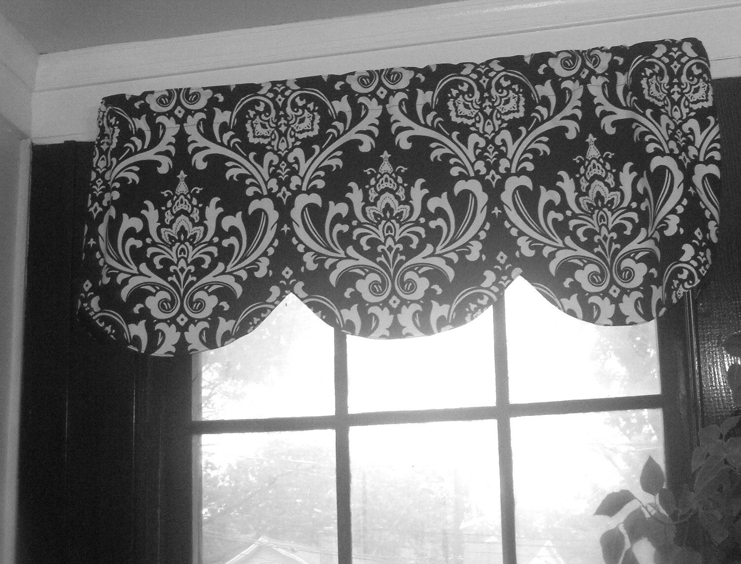 Window Curtain Valance Damask Black And White 42 X 16 Inches