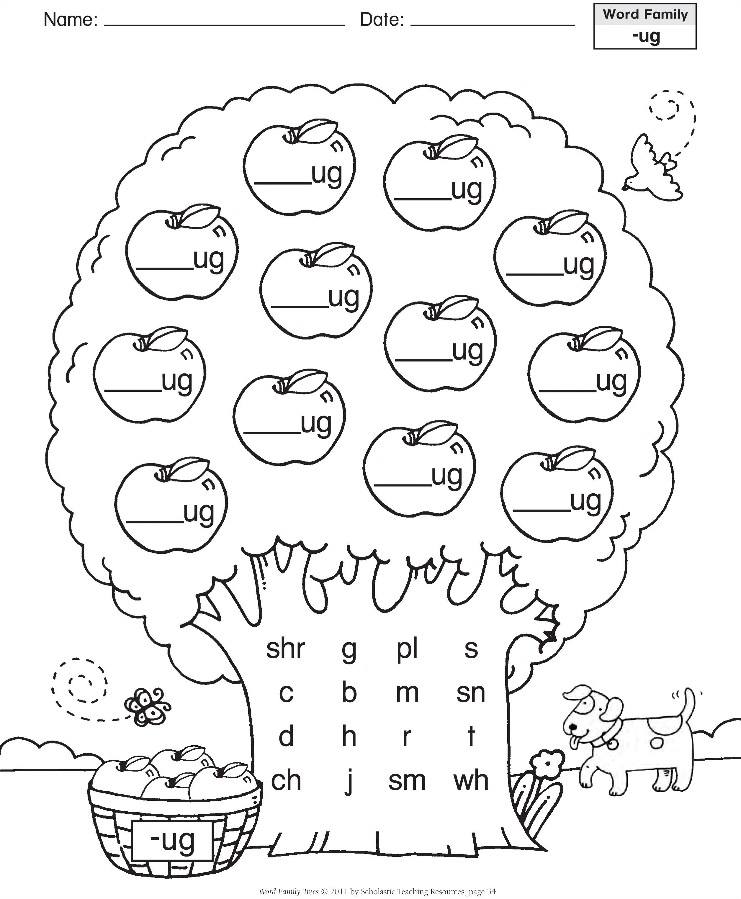 Short Vowel Ug Word Family Tree Families Reading