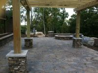 Backyard brick paver patio with pergola, fire pit and ...