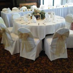 Christmas Wedding Chair Covers Bow Arm Morris Plans Ivory With Gold Organza Sashes Traditional