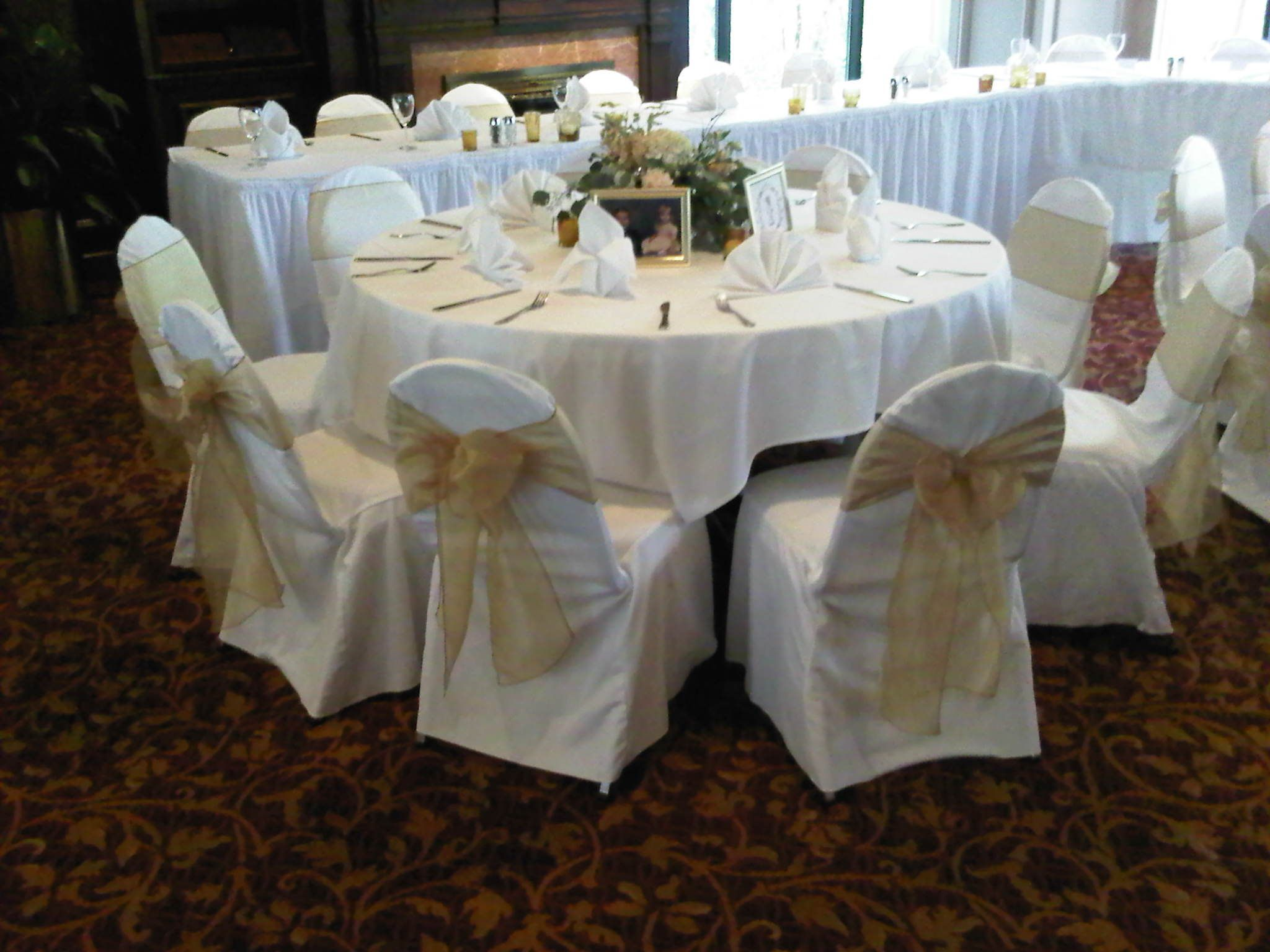ivory chair covers with gold sash slipcovers near me organza sashes traditional