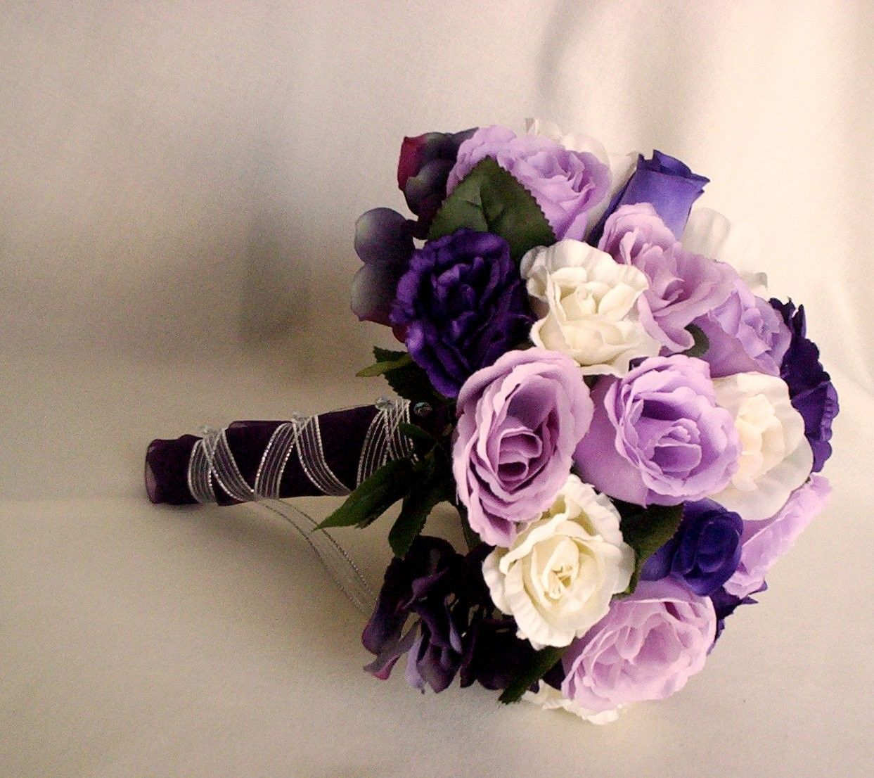 Bride Bouquet Wedding Flowers Purple Lavender silk Rose spring Bridal Bouquet Winter accessory