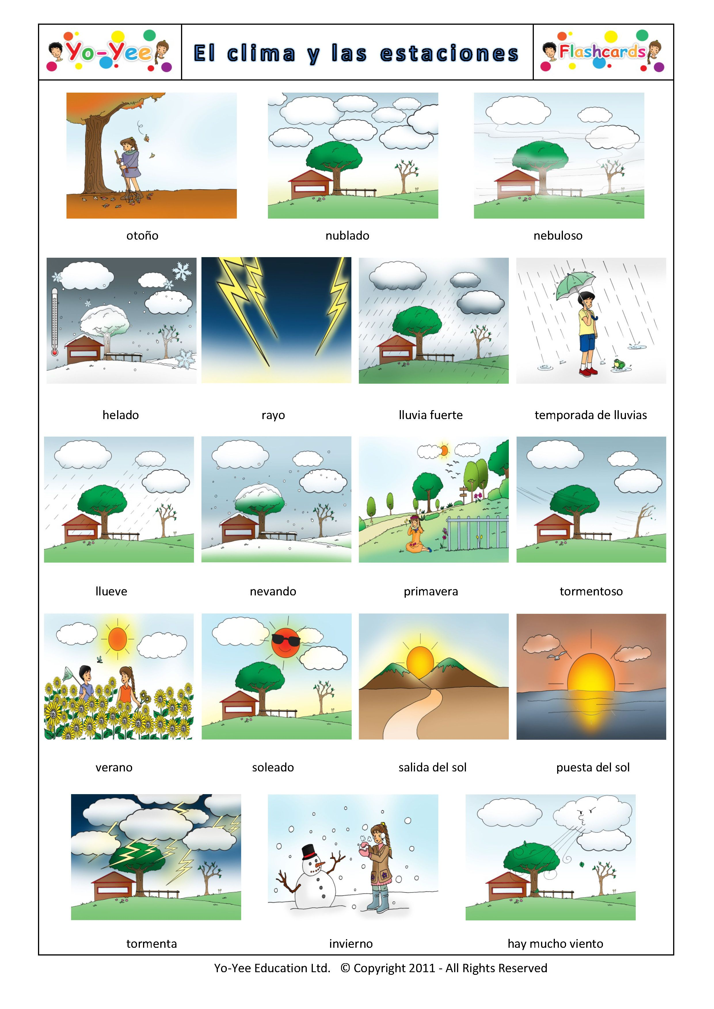 Weather And Seasons Flashcards In Spanish Yo Yee Es Spanish Step Up Flashcards 43