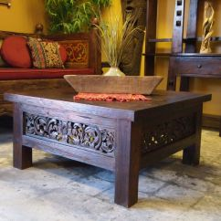 Wooden Hand Chair Bali Office Keeps Sinking Down Square Carved Panel Teak Coffee Table And Daybed From