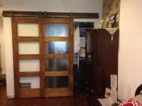 Bypass sliding barn door. Frosted glass panel doors ...