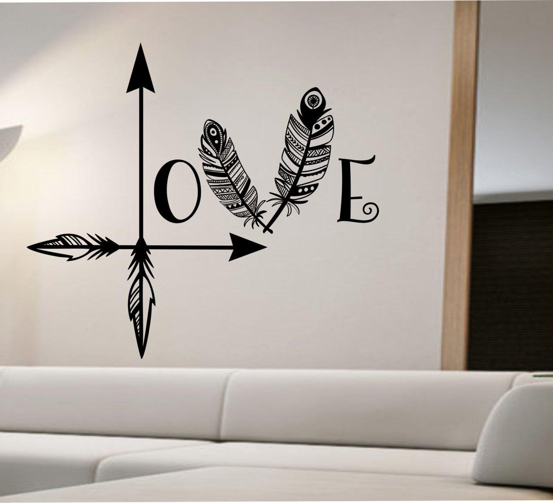 Arrow Feather Love Wall Decal namaste Vinyl Sticker Art