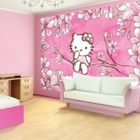 pink wallpaper bedroom ideas with hello kitty bedroom ...
