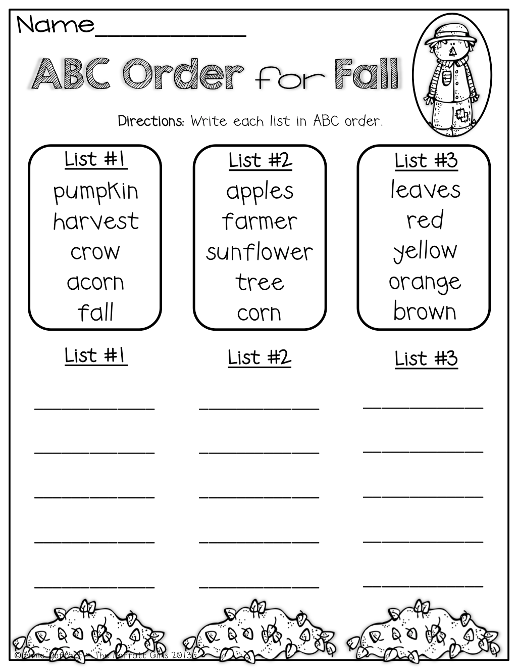 Abc Order For Fall