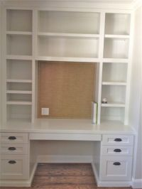 Built in desk with display shelving from a bowl full of ...