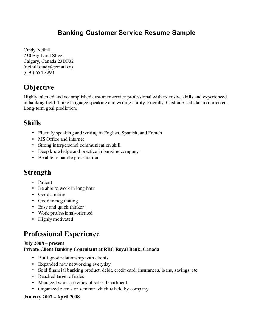 Banking Customer Service Resume Template Jobresumesample