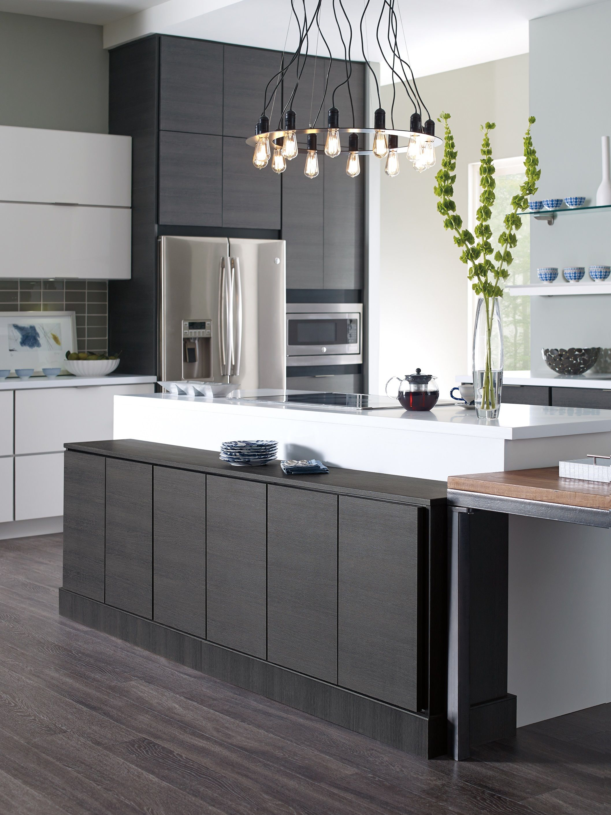 slab kitchen cabinets end cabinet contemporary white and grey thermofoil doors