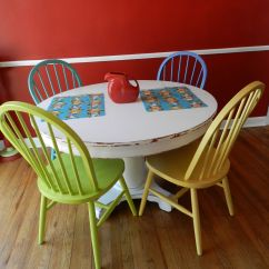 Painted Kitchen Chairs Hutch For Sale Colorful Multicolored