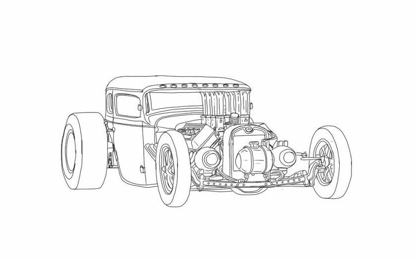 rat rod coloring pages  favorite automotive sketches