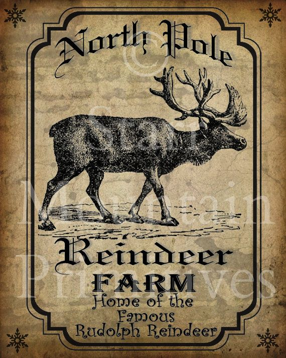 Primitive Vintage Reindeer Farm Rudolph Christmas Pantry