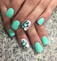 45 Refreshing Green Nail Art Ideas | Floral designs ...