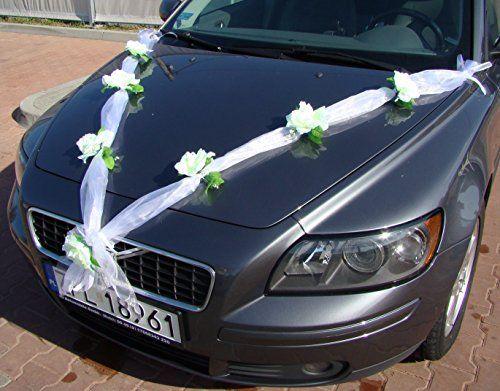 ORGANZA M Auto Schmuck Braut Paar Rose Deko Dekoration Autoschmuck Hochzeit Car Auto Wedding