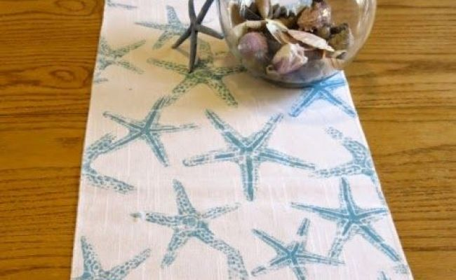 Handmade Coastal Table Runner Starfish Coral And Others