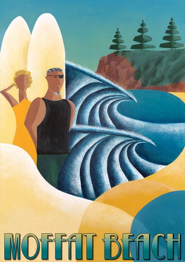 Vintage Art Deco Beach Poster